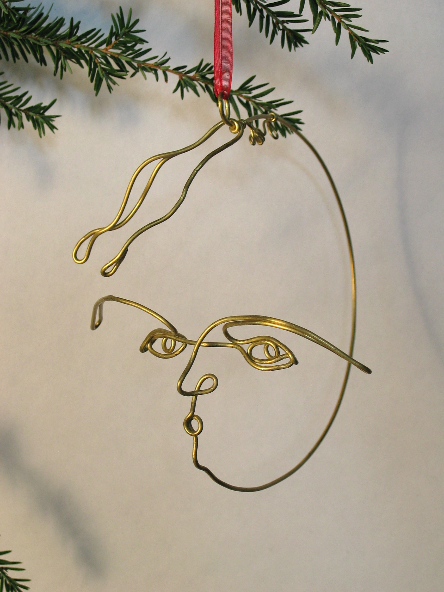 Wire sculpture Man in the Moon Christmas ornament