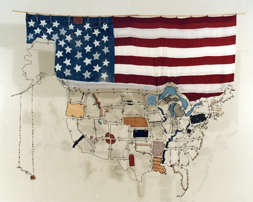 Wire sculpture map of the USA with found objects and fabric