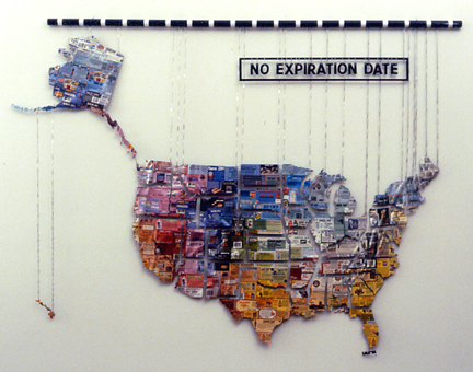 Wire sculpture map of the USA with coupons