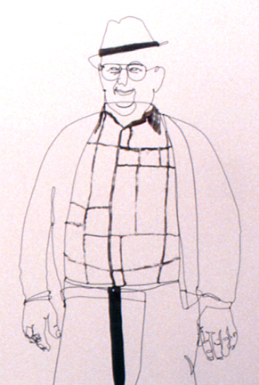 Figurative wire sculpture of standing man in work shirt