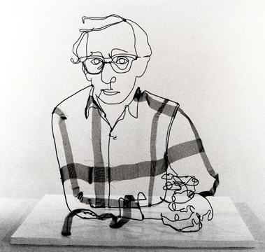 Figurative wire sculpture of film director, Woody Allen