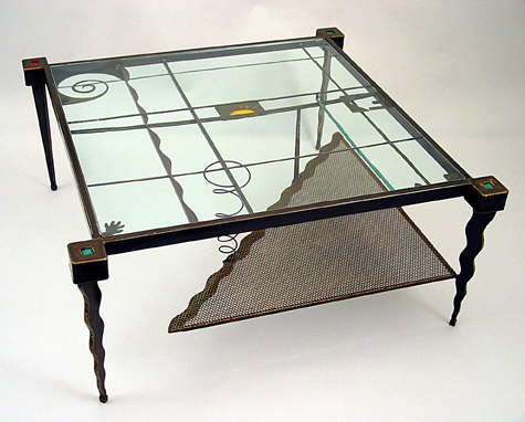 Whimsical Steel Glass Coffee Table