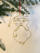 Wire Sculpture Christmas Santa Ornament