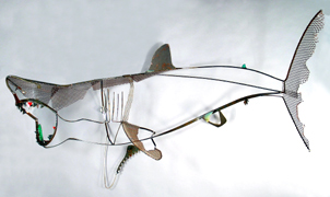 Shark :: Sculpture :: Great White :: Elasmobranchii :: Selachimorpha :: Hammerhead :: Tiger :: Bull :: Fish :: Animal :: Wire :: Art :: Steel :: Figurative :: Figure :: Equestrian :: Horse :: Equine :: Kinetic :: Bronze :: Public :: Corporate :: Plaza :: Lobby :: Lisa Fedon :: Artist :: Designer :: Sculptor :: ISC :: Wikipedia