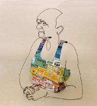 Figurative wire sculpture of sitting man with coupon shirt