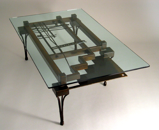 Steel Coffee Table with rust patina - Steel Glass Coffee Tables :: Table :: Bases :: Custom Made :: Lisa