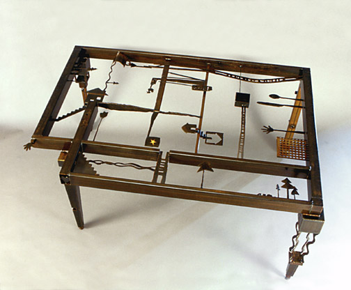 Steel Custom Made Dining Table Base With Found Objects